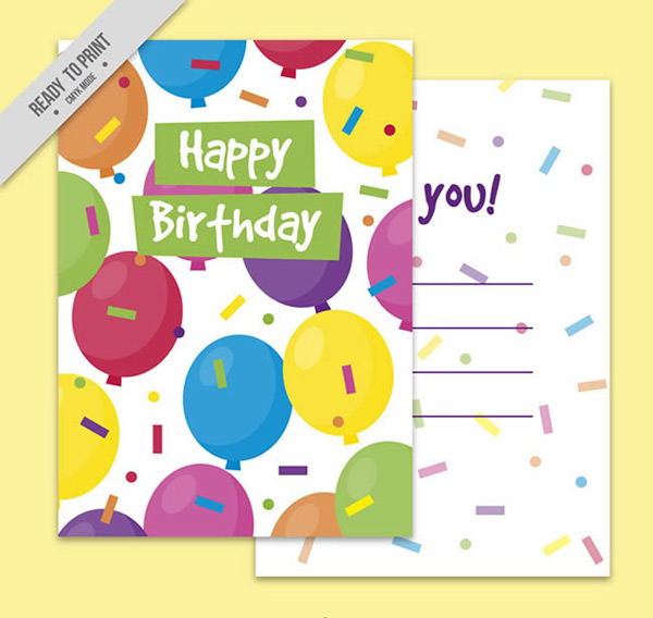Balloon Birthday blessing card