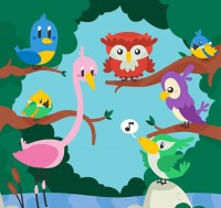Birds in the cartoon forest
