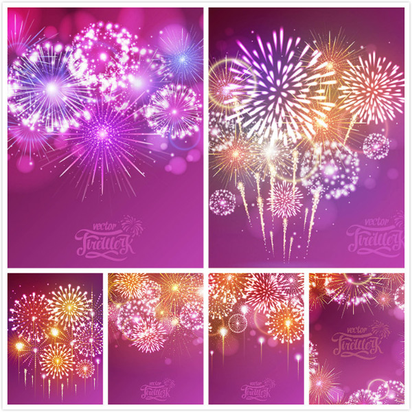 Blooming fireworks background