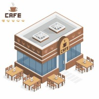 Cartoon coffee shop vector