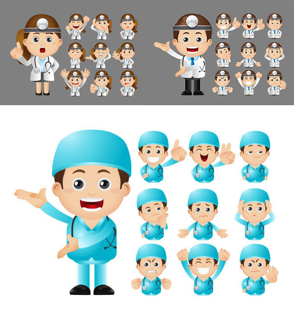 Cartoon doctor facial expression pack