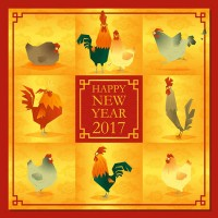 Chicken New Year greeting card vector