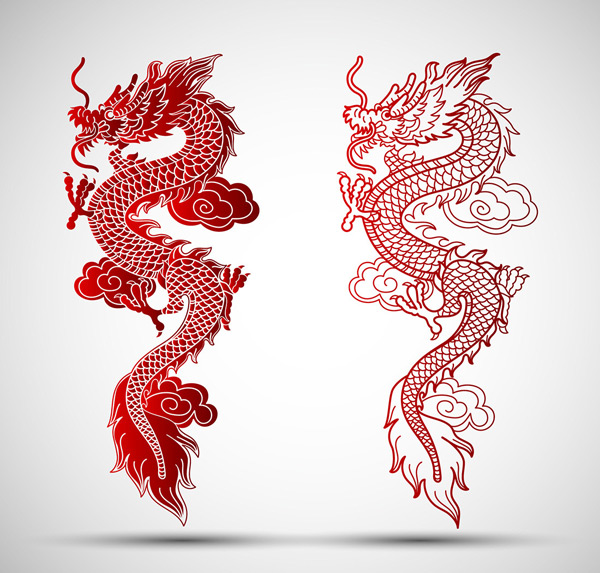 Chinese dragon paper cut vector