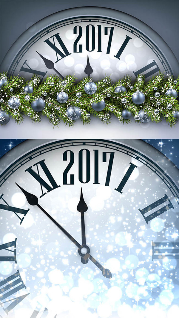Clock and silver Christmas ball