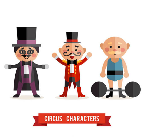 Flattened circus characters