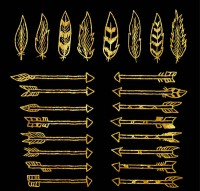 Golden feathers and arrows