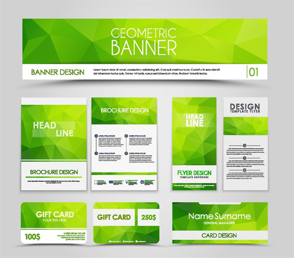 Green flyers and business cards
