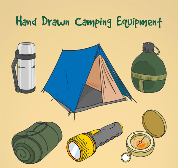 Hand drawn camping equipment
