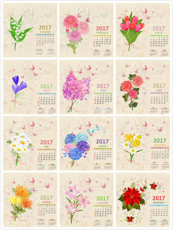 Hand painted flower calendar