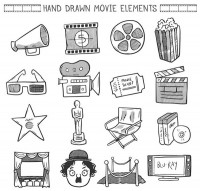 Hand painted movie elements