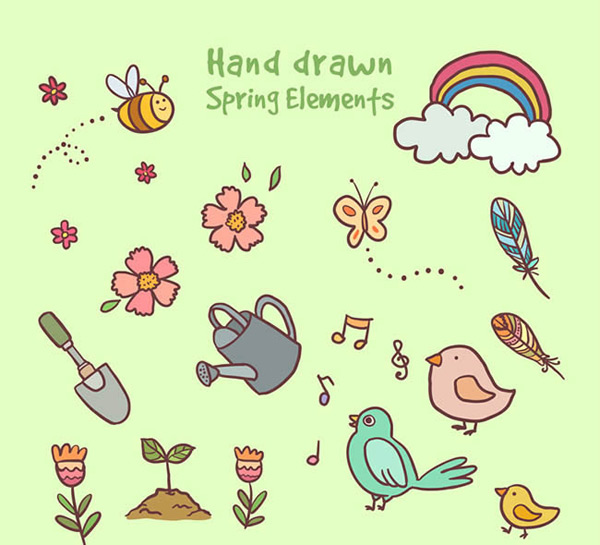 Hand painted spring elements