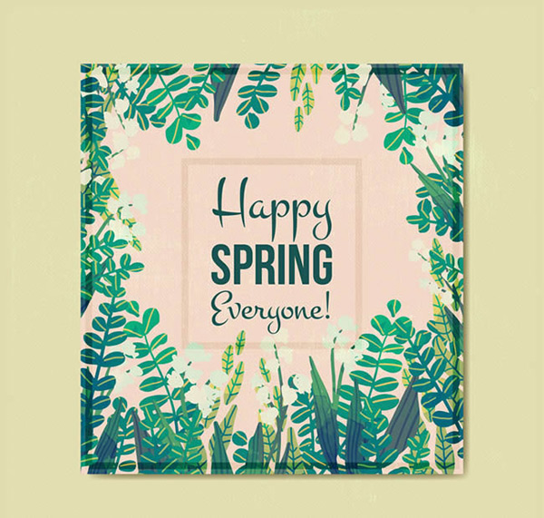 Happy spring green card