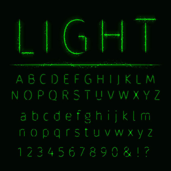 Letters and symbols of light effects