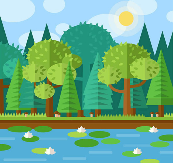Lotus Pond scenery vector