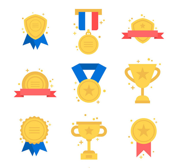 Medals badges and trophies