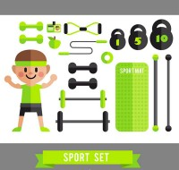 Men and fitness equipment