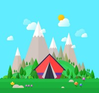 Outdoor camping tent illustration