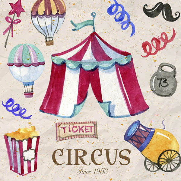 Painted circus elements