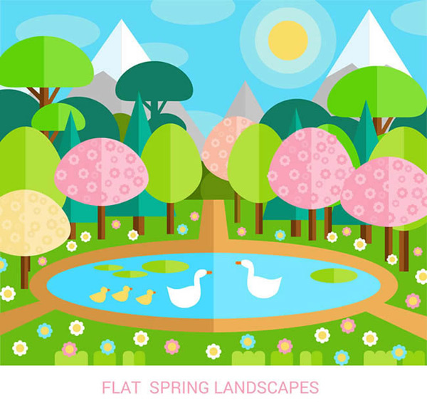 Pond landscape in spring