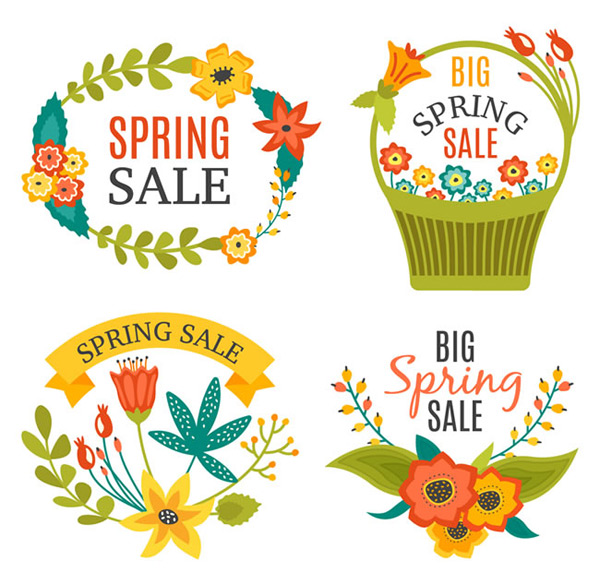 Promotional labels for flowers in spring
