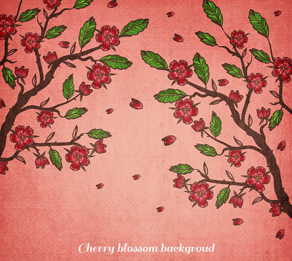 Red cherry tree vector
