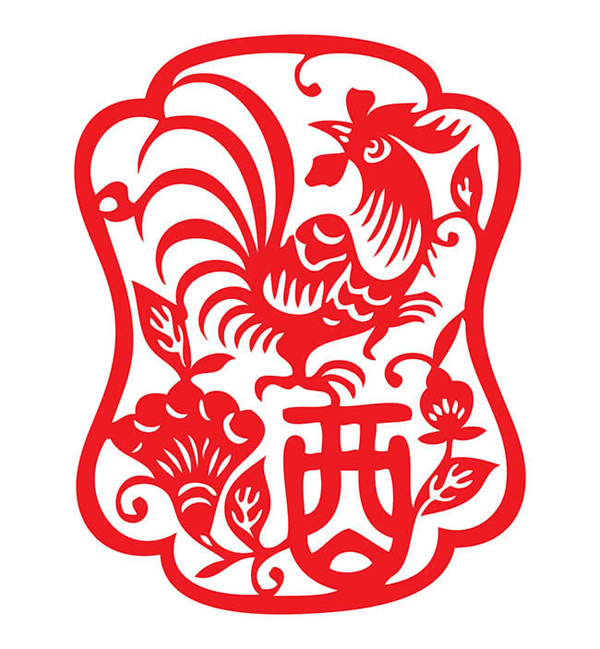 Rooster paper cutting of rooster