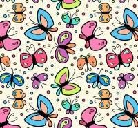 Seamless background of cartoon Butterfly