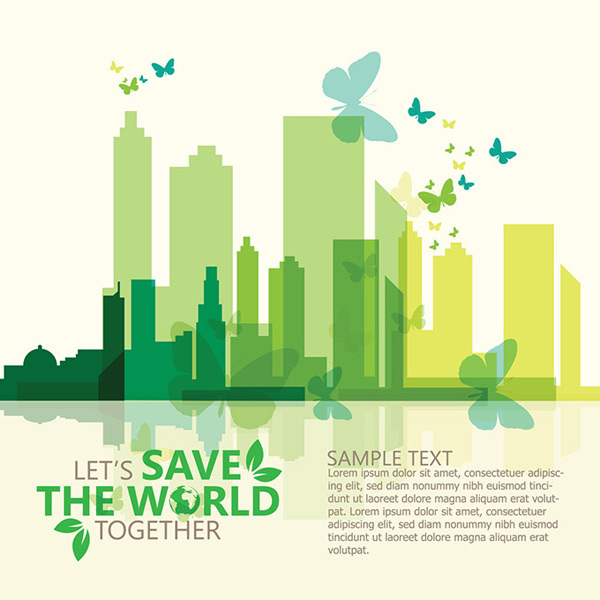 Silhouette of environmental protection city