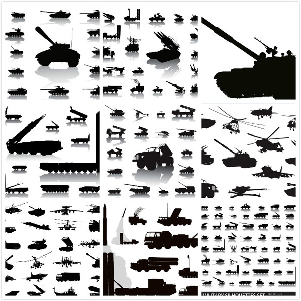 Silhouette of military equipment