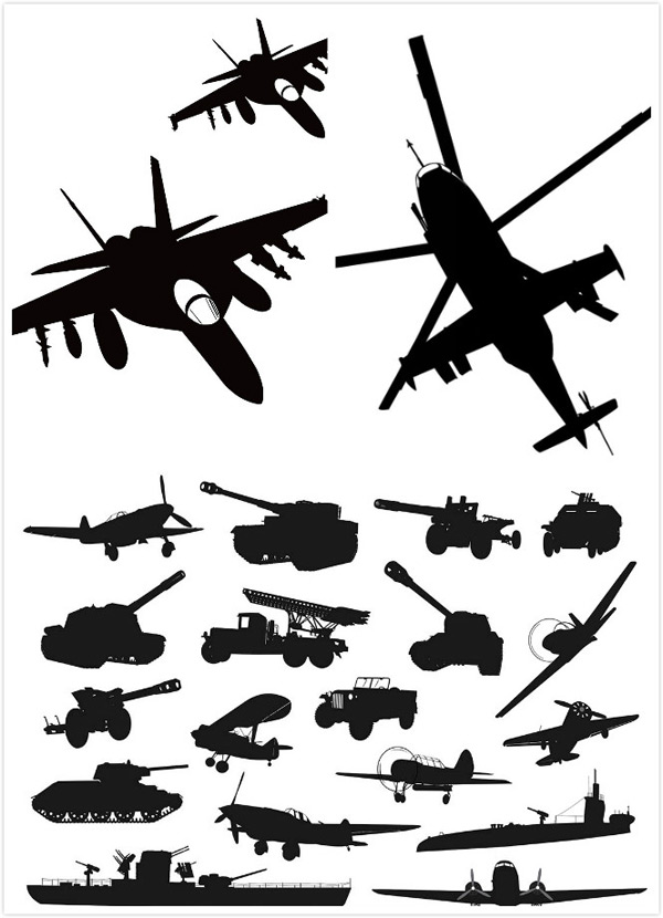 Silhouette of military machinery