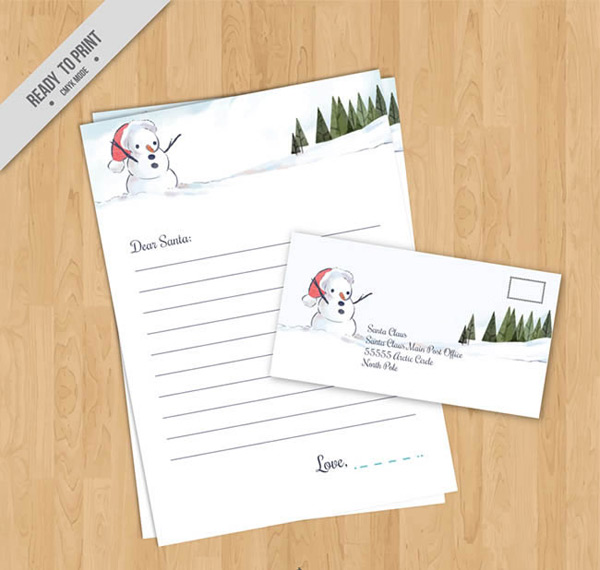 Snowman stationery and envelopes