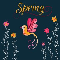 Spring flower and bird vector