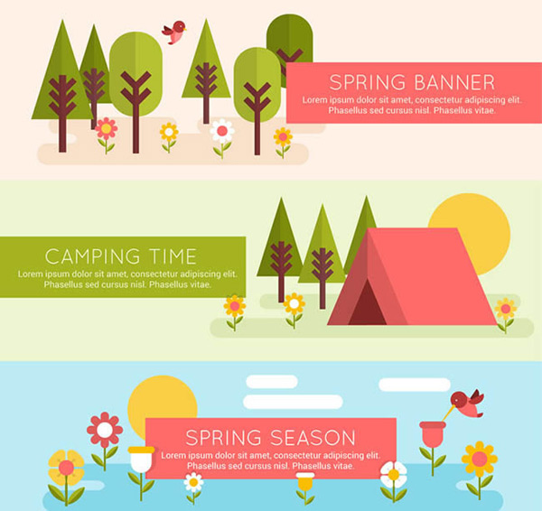 Spring scenery banner