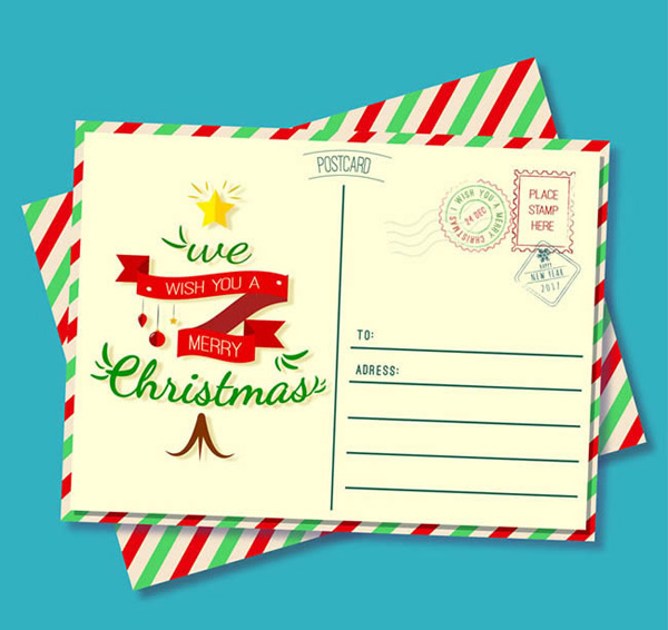 Stripe Christmas Postcard