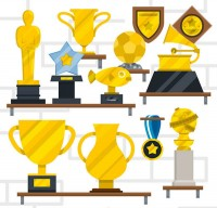 Trophy and medal vector