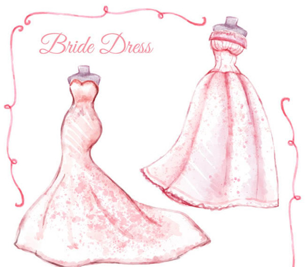 Water painted pink wedding dress