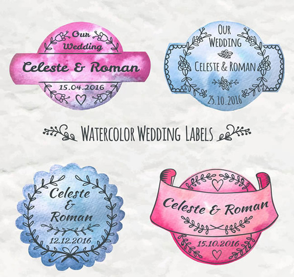 Water painted wedding label